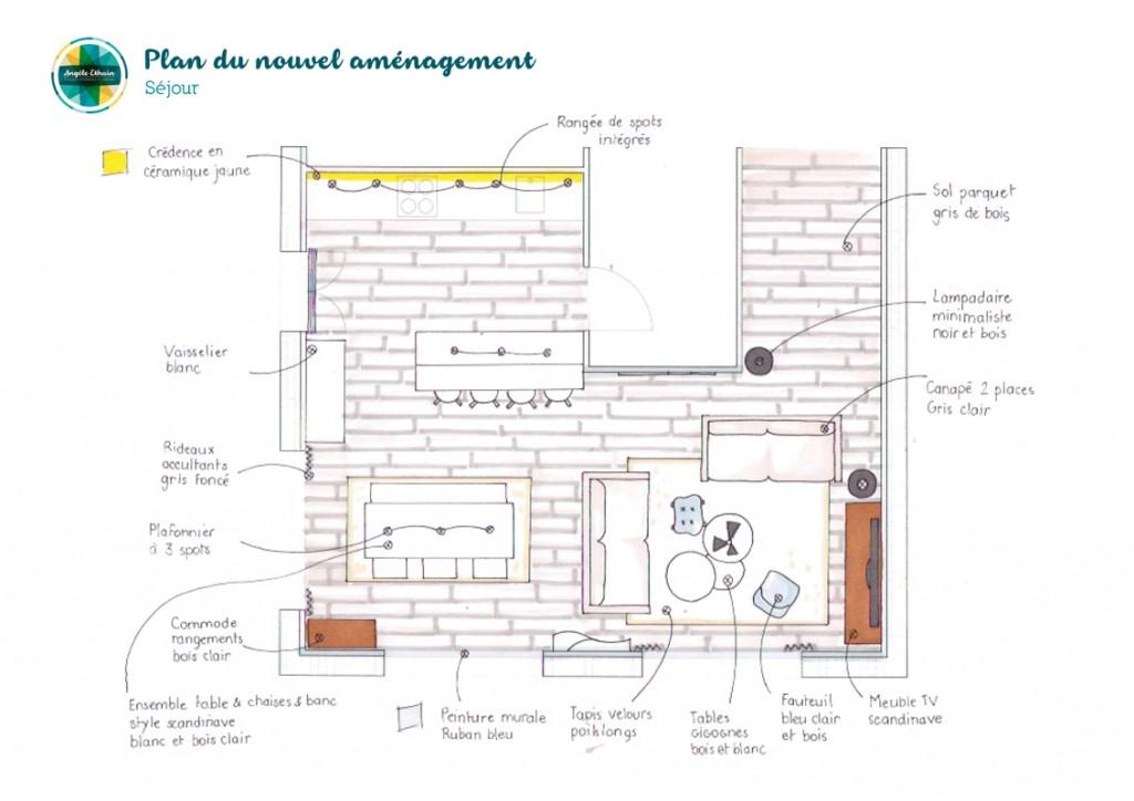 Croquis séjour 35m2 - Design intérieur - Angèle Ethuin Designer d'intérieur & Coloriste