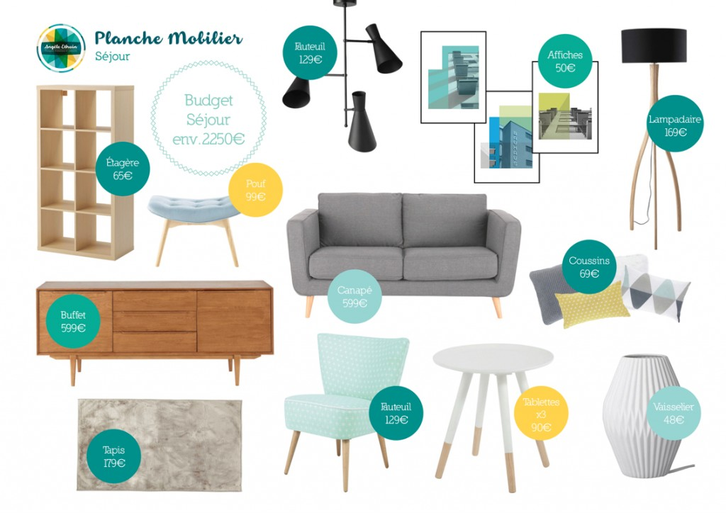 Mobilier salon 35m2 - Design intérieur - Angèle Ethuin Designer d'intérieur & Coloriste
