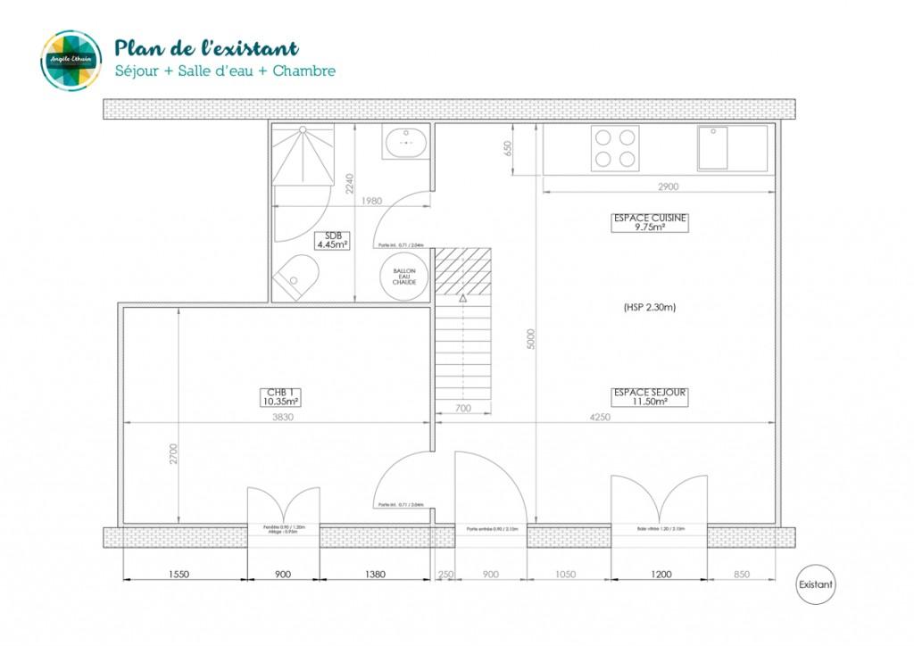 Plan existant du rez de chaussée - Angèle Ethuin