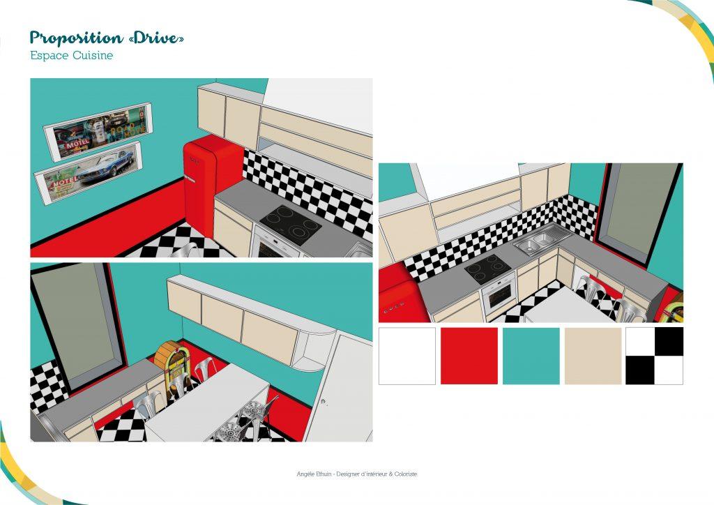 Visuels 3D de la cuisine esprit 50's