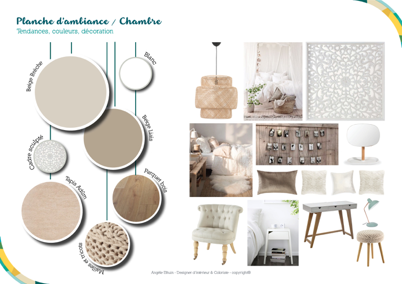 Maison individuelle - Planche d'ambiance chambre parentale - Angèle Ethuin Designer d'intérieur & Coloriste