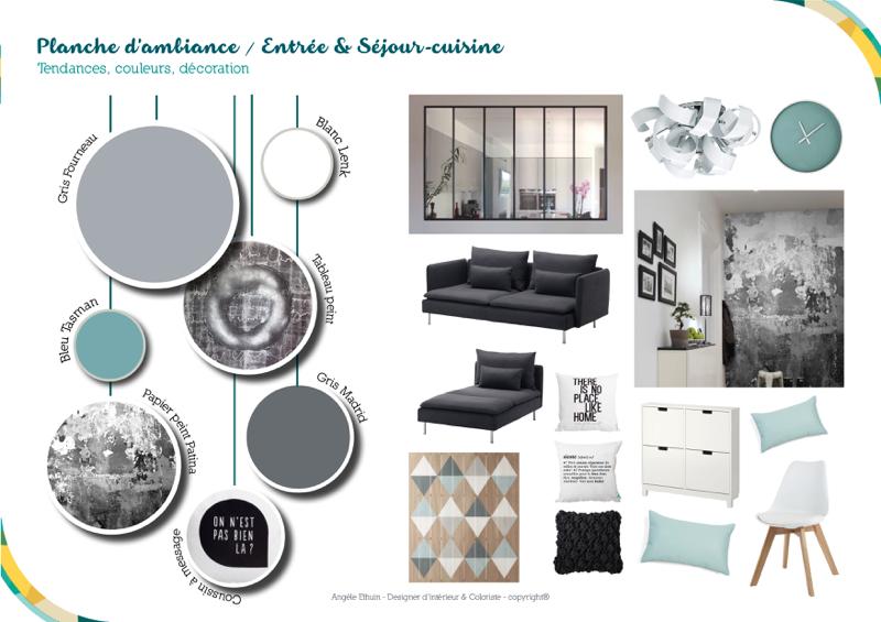 Planche d'ambiance séjour - Angèle Ethuin Designer d'intérieur & Coloriste