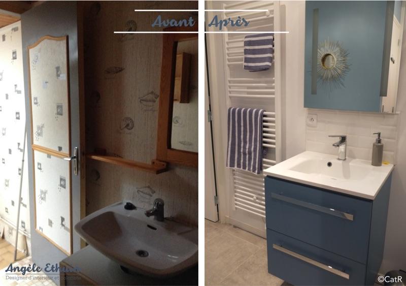 Avant - Après décoration esprit maritime - salle d'eau