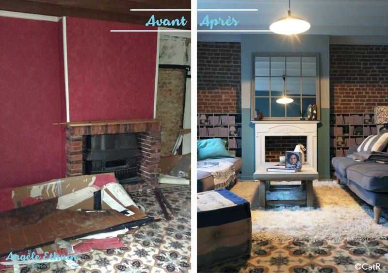 Avant - Après décoration esprit maritime - cheminée salon