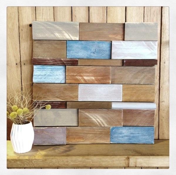 Echantillon revêtement bois recyclé par Angèle Ethuin Designer d'intérieur & Coloriste